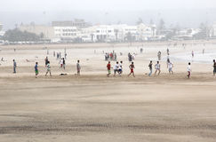 Essaouira Beach. Beach Essaouira in Morocco on a foggy day royalty free stock photo