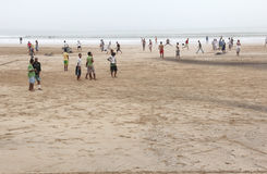 Essaouira Beach. Beach Essaouira in Morocco on a foggy day stock photography