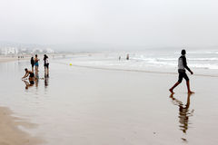 Essaouira Beach. Beach Essaouira in Morocco on a foggy day stock image