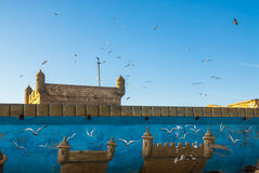 Essaouira castle - painted and real Stock Image