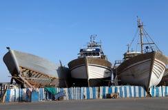 Essaouira harbour docks stock photo