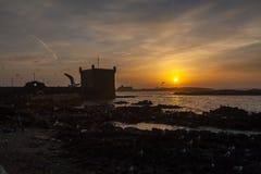 Essaouira kuststad i solnedgång arkivbild
