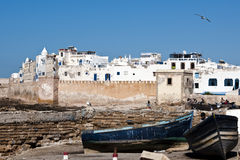 Essaouira, Morocco. Boats, town wall and houses of Essaouira, Morocco Stock Photos