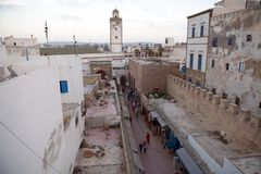 Essaouira Morocco. Essaouira, Morocco: Medina with the mosque minaret in the background. Harbour fortifications were built by an English renegade named Ahmed El Royalty Free Stock Image