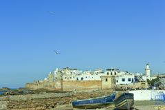Essaouira, Morocco, city wall and old town of Essaouira stock photos