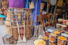 Traditional musical instruments and music CDs for sale in Essaouira, Morocco. stock image