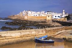 Essaouira Morocco Old Portuguese Mediterranean City Walls. Essaouira Morocco Fishing Harbour and Distant Portuguese City Walls from Old Mediterranean Citadel Royalty Free Stock Images