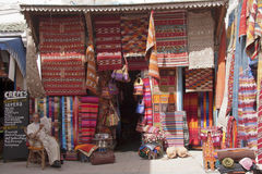 ESSAOUIRA, MOROCCO SEPT 14TH: A carpet and fabric shop on Septem Stock Image