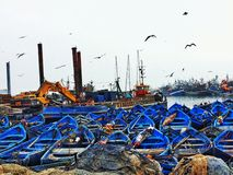 Essaouira portuário Marrocos da pesca imagens de stock