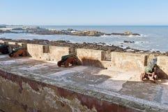 essaouiramorocco för kanoner defensiv vägg Royaltyfri Fotografi