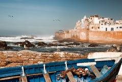 Essaouria Morocco Harbour. Sea and birds in Essaouria harbour Morocco Stock Image