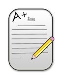 A+ Essay Report Card icon. An icon or clipart of a report card or essay assignment. A+ good grade Stock Photo