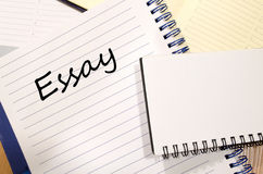 Essay write on notebook Stock Images