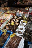 Essbare Meerestiere am Tsukiji Fischmarkt Tokyo Stockfotografie