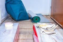 Essen, Alemania - 11 de febrero de 2019: Preparación el piso para restaurar la lamina fotografía de archivo