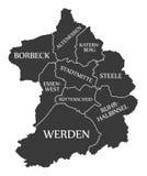Essen city map Germany DE labelled black illustration. Essen city map Germany DE labelled black Stock Photography
