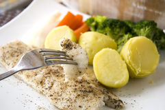 Essen der gebackenen Fische Lizenzfreies Stockbild