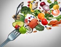 Essen der gesunden Nahrung und der neuen Bestandteil-Nahrung lizenzfreie stockfotos