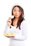 Essen der Kartoffelchips Lizenzfreie Stockbilder