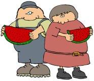 Essen der Wassermelone vektor abbildung