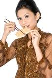 Essen des gesunden Biskuites lizenzfreies stockbild