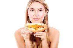 Essen des Hotdogs Stockfotos