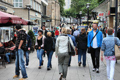 Essen, Germany. JULY 17: People shop downtown on July 17, 2012 in . Essen is a city of almost 600 thousand citizens and was the 2010 European Capital of stock photo