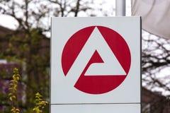 Essen, Noordrijn-Westfalen/Duitsland - 22 11 18: agentur het teken van fà ¼ r arbeit in Essen Duitsland royalty-vrije stock afbeelding