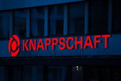 Essen, North Rhine-Westphalia/germany - 18 10 18: knappschaft sign in essen germany. Essen, North Rhine-Westphalia/germany - 18 10 18: an knappschaft sign in stock images