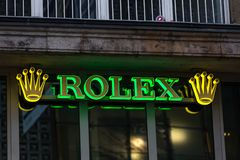 Essen, North Rhine-Westphalia/germany - 17 10 18: rolex sign in essen germany. Essen, North Rhine-Westphalia/germany - 17 10 18: an rolex sign in essen germany stock image