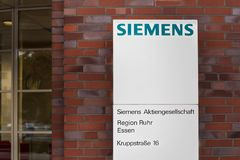 Essen, North Rhine-Westphalia/germany - 18 10 18: siemens building sign in cologne germany. Essen, North Rhine-Westphalia/germany - 18 10 18: an siemens building stock photo