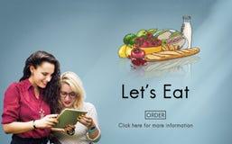 Essen Sie das Essen der lebenden Nahrung, die Diät-Lebensmittel-Konzept speist lizenzfreie stockfotos