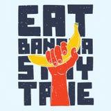 Essen Sie den wahren Bananenaufenthalt Lizenzfreie Stockfotos
