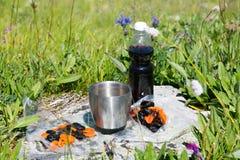 Essen Sie in der Frischluft in den Bergen zu Mittag Lizenzfreies Stockfoto