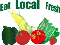 Essen Sie die lokalen und frischen Veggieprodukte? Stockfotografie