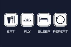 Essen Sie Fliegen-Schlaf-Wiederholungs-Ikonen Lustiger Zeitplan für das Laufen von quadrocopt Lizenzfreies Stockfoto
