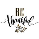 Essen Sie, Getränk und seien Sie dankbare Hand gezeichnete Aufschrift, Danksagungskalligraphiedesign Feiertage, die für Einladung Lizenzfreies Stockfoto