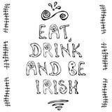 Essen Sie Getränk und seien Sie irisch St- Patrick` s Tageskarte Stockfotografie