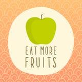 Essen Sie mehr Fruchtkarte mit grünem Apfel Lizenzfreies Stockbild