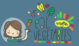 Essen Sie mehr Gemüseillustrationsrat Stockbilder