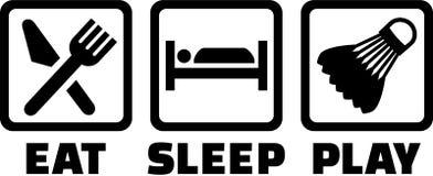 Essen Sie Schlaf-Badminton vektor abbildung