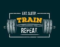 Essen Sie Schlafzugwiederholung Turnhallenmotivzitat lizenzfreie abbildung