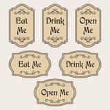 Essen Sie, trinken Sie, öffnen Sie mich Weinleseaufkleber Stock Abbildung