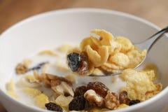 Essen von Corn Flakes mit Früchten und Nüssen in der weißen Schüssel Lizenzfreies Stockbild