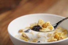 Essen von Corn Flakes mit Früchten und Nüssen in der weißen Schüssel Lizenzfreie Stockbilder