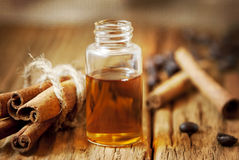 Essence Bottle and Cinnamon Stock Photo