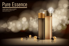 Essence contained, ads, gold and bronze translucent glass bottle template royalty free illustration