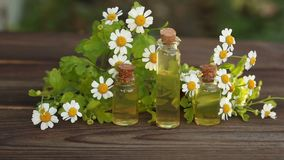 Essence of flowers on table in beautiful bottle stock video footage