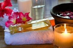Essence Oil. Arrange one of the essence oil above the towel used for reflexology in spa Stock Image
