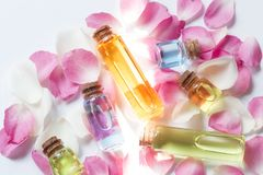 Essence oil bottles royalty free stock image
